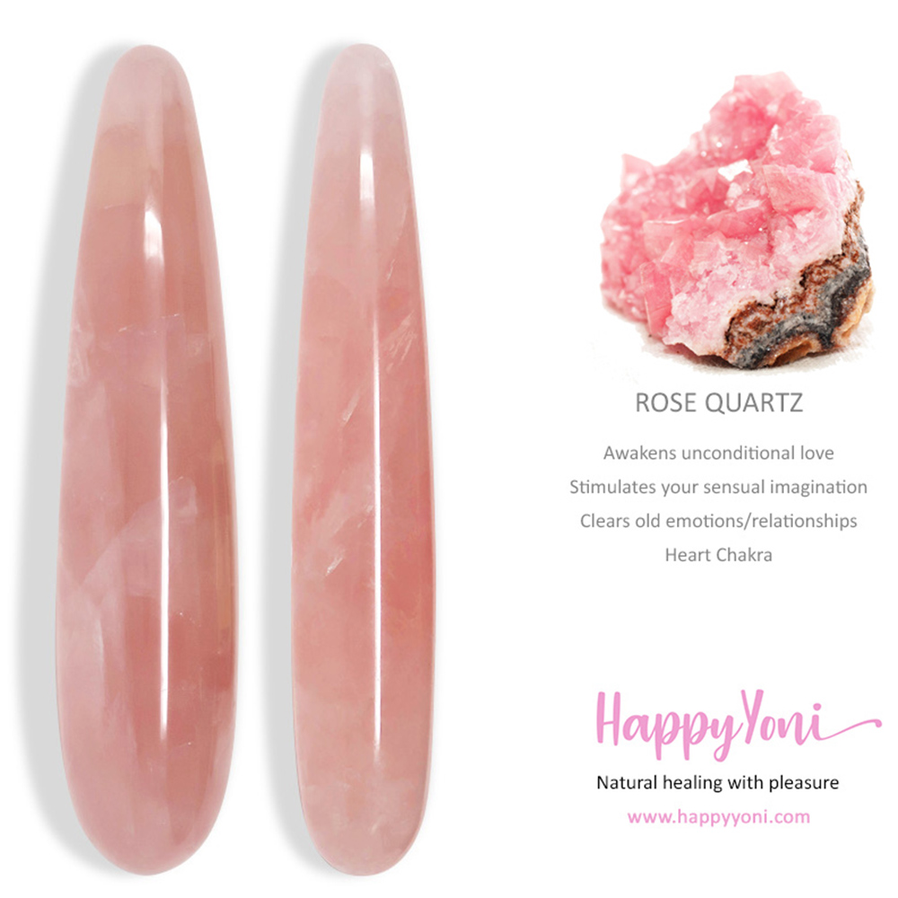 Rose quartz yoni wand